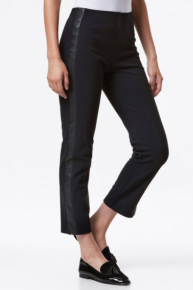Tuxedo pant with vegan leather