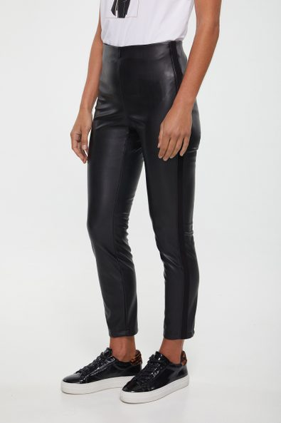 Vegan leather legging with side band