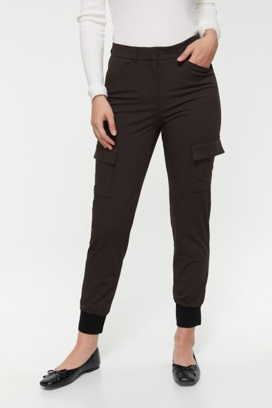 High waist cargo pant with ribbed cuff