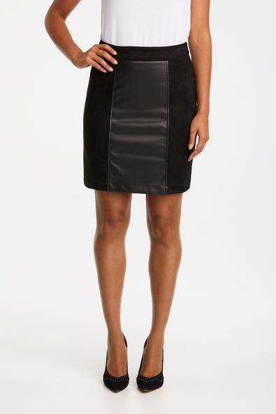 Vegan suede & leather A line skirt