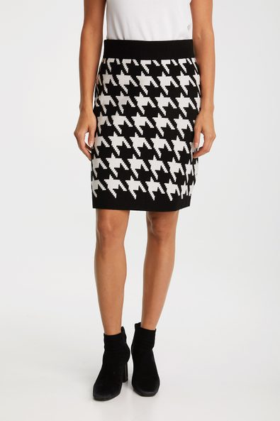 Houndstooth knitted skirt