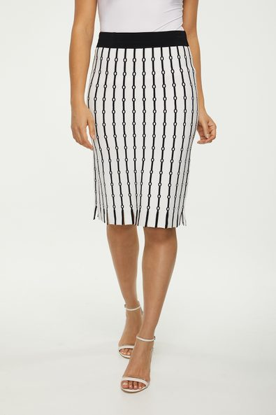 Jacquard knitted straight skirt