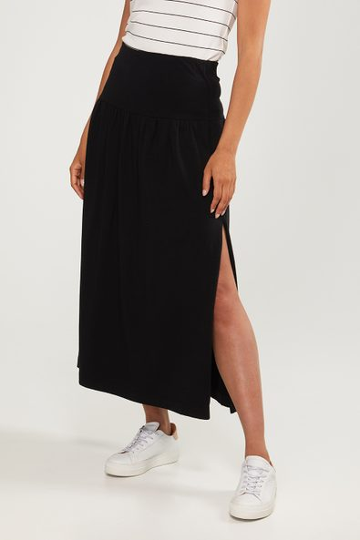 Long jersey skirt with slit
