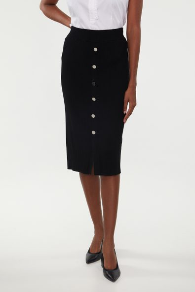 Buttoned front rib skirt