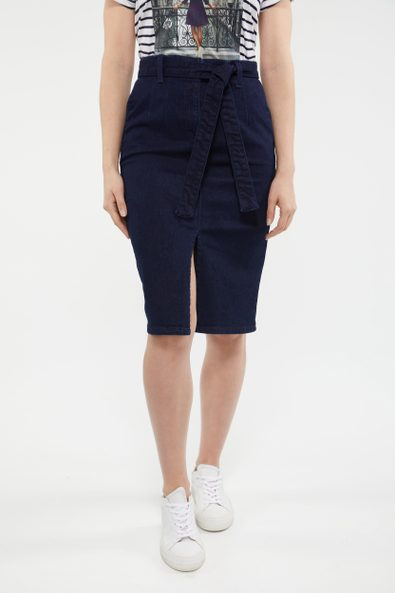 Denim pencil skirt with belt