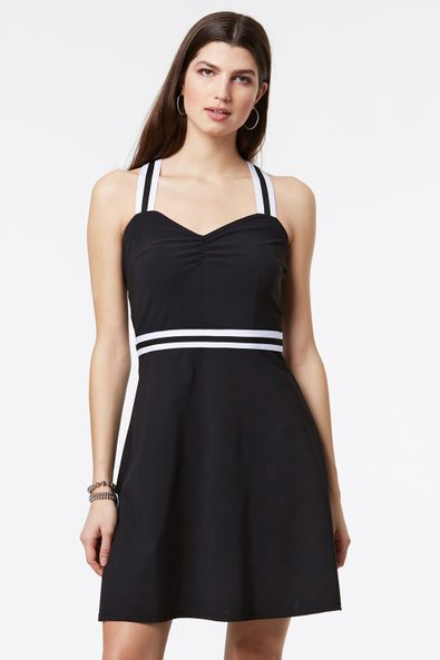 Jersey dress with striped elastic