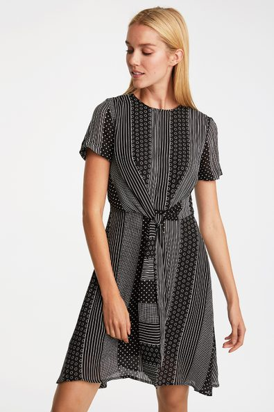 Multi pattern dress with front tie