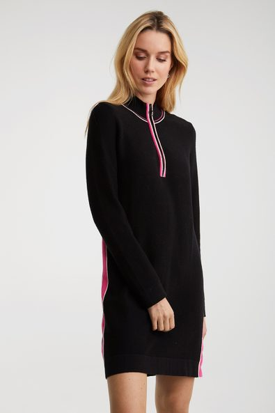 Mock neck knitted dress with c