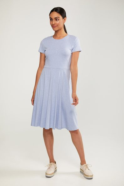 Fit & flare crew neck jersey dress