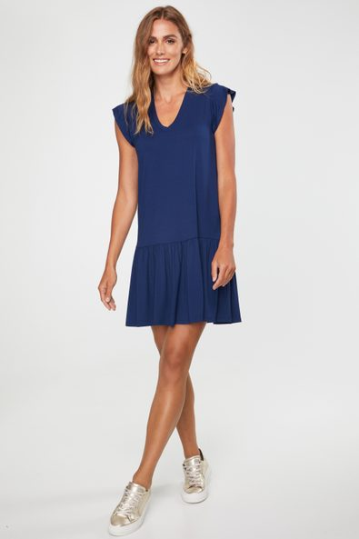 V neck jersey dress with frill