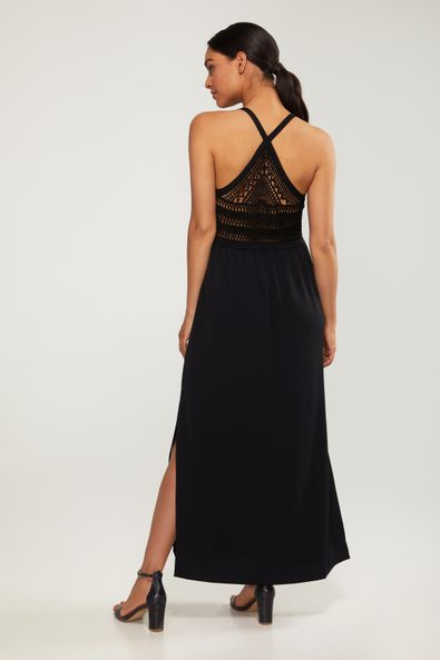 Maxi dress with crochet at back