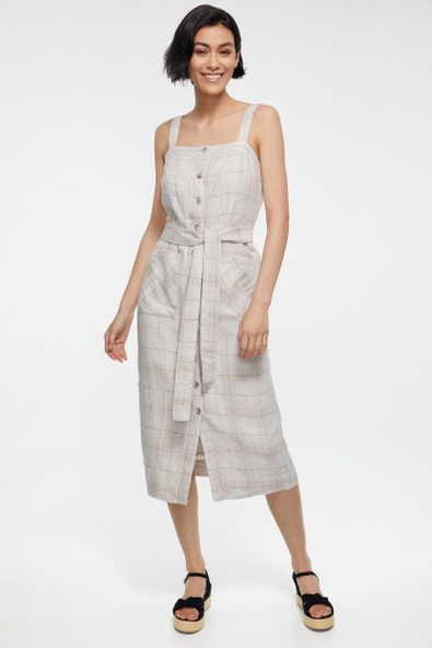 Plaid linen dress with patch pockets