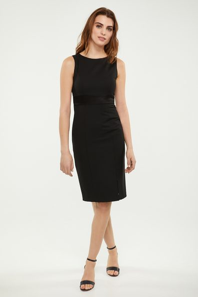 Mixed fabric fitted dress