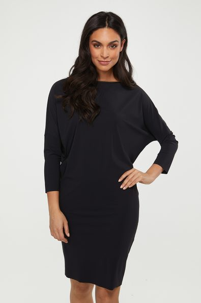 Boat neck loose fit dress with gold neckline