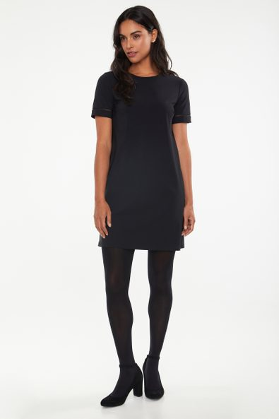 A line dress with mesh detail