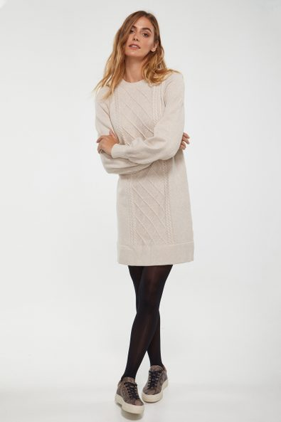 Crew neck cable dress