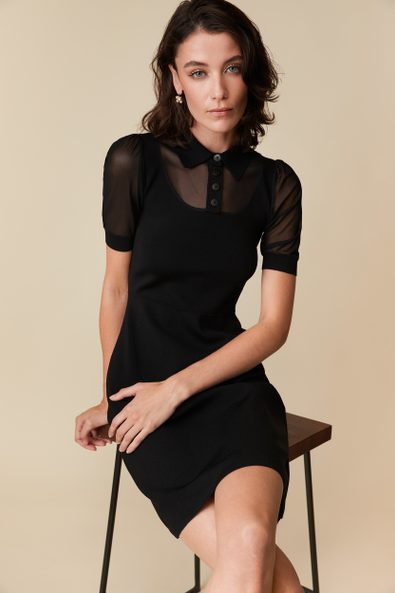 Polo collar fitted knit dress