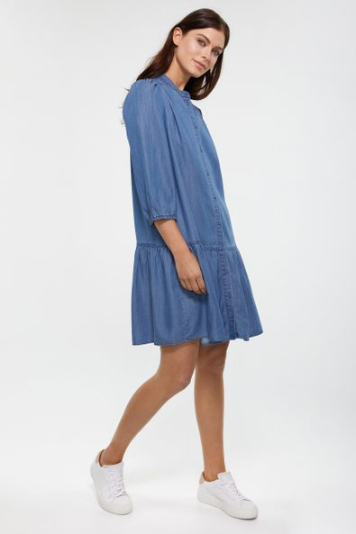 Tencel shirt dress with puffy sleeves