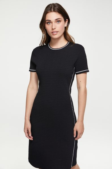 Knit dress with contrast detail