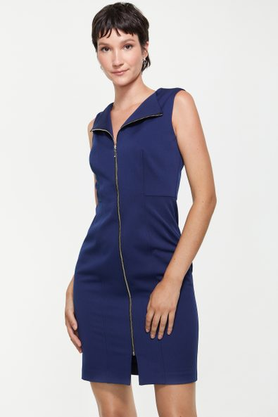 Fitted dress with front zipper