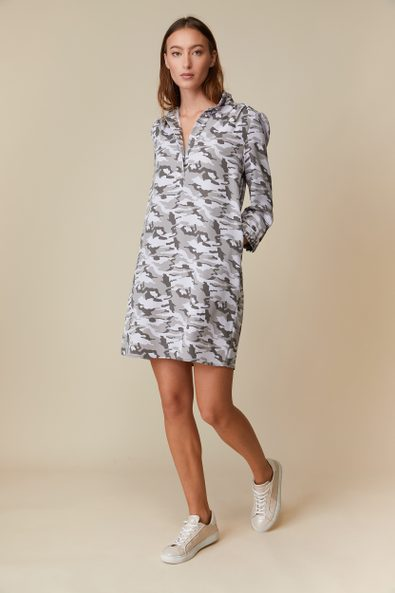 Camouflage fluid dress with puffy sleeves
