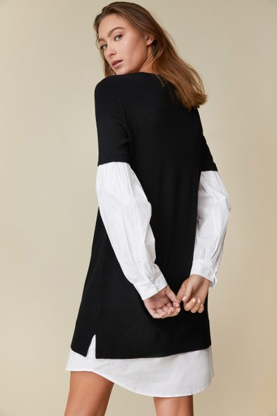 2-in-1 knitted dress with puffy sleeves