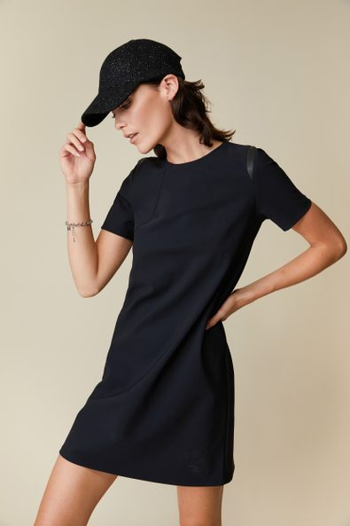 A line dress with vegan leather detail