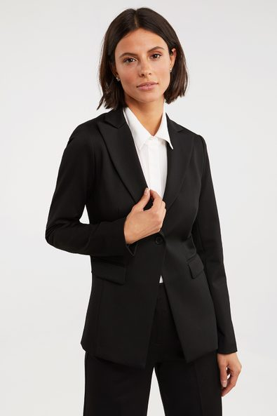 Long basic fitted blazer