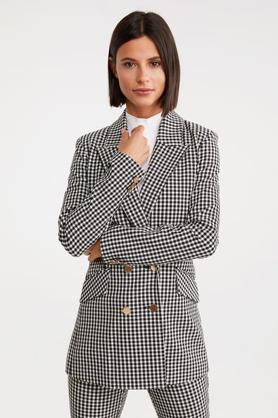 Double breast gingham long blazer