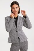 One button houndstooth blazer