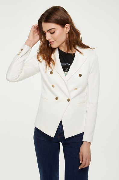Double-breasted stretch textured blazer