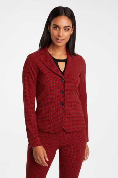 Gingham fitted 3 button blazer