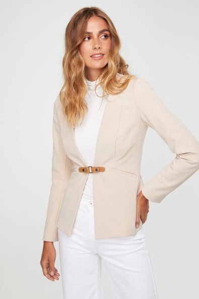 Fitted jacket with tab
