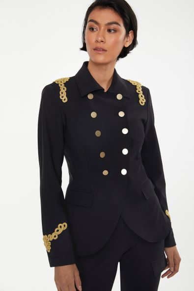 Double-breasted SPORT CHIC military blazer