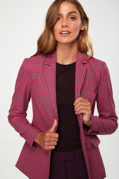 Belted colourful houndstooth blazer
