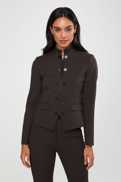 Military jacket with embroidered collar