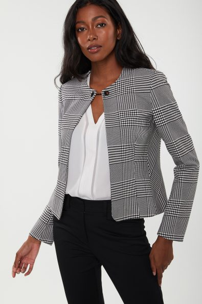 Plaid jacket with chain detail