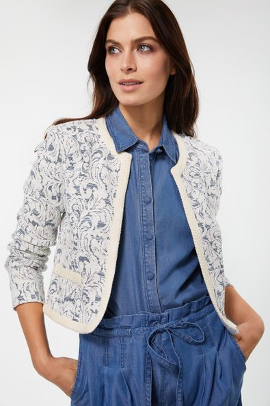 Jacquard jacket with ribbon