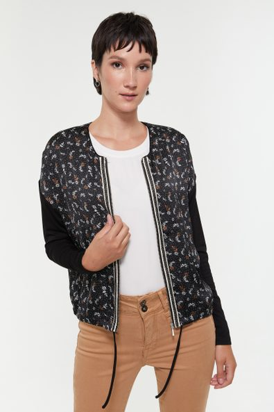 Printed bomber jacket with jersey sleeves
