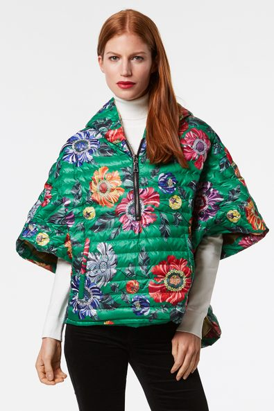 Printed Think Royln poncho-style puffer
