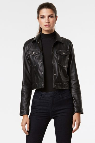Cropped leather jacket with studs