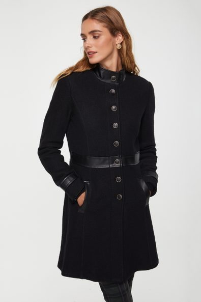 Boiled wool military coat