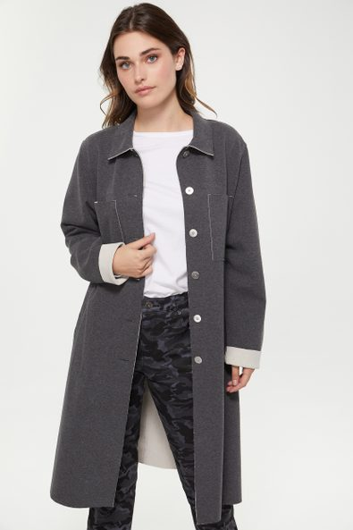 Long coat with raw edge detail