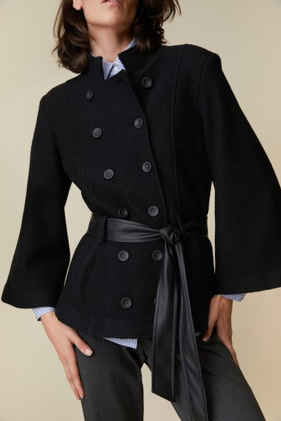 Boiled wool coat with wide sleeve
