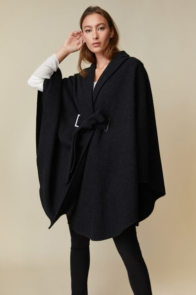 Long boiled wool cape with sash
