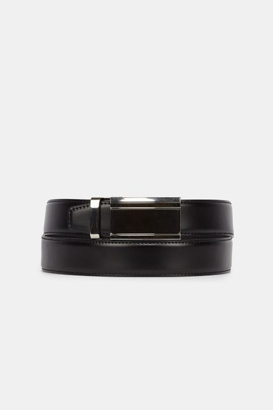 Leather belt with automatic bu