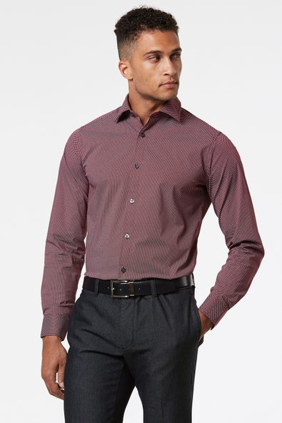 Fitted micro pattern stretch shirt