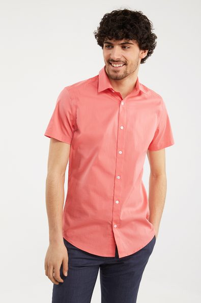 Solid color stretch shirt