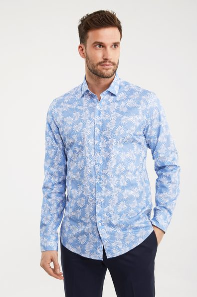 Tropical leaves stretch shirt