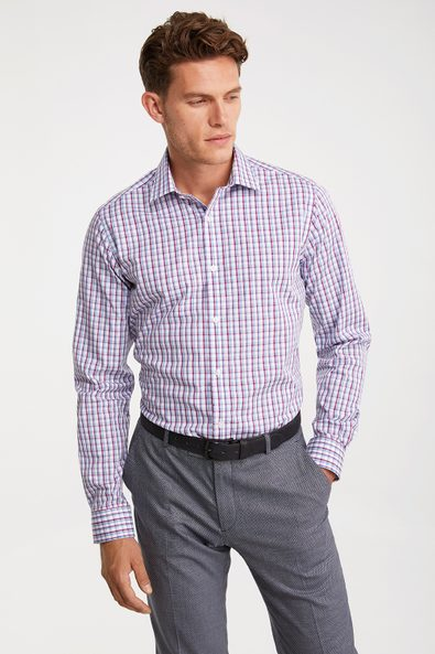 Non-iron Fitted check shirt